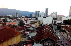 Über den Dächern von George Town, Penang, Malaysia