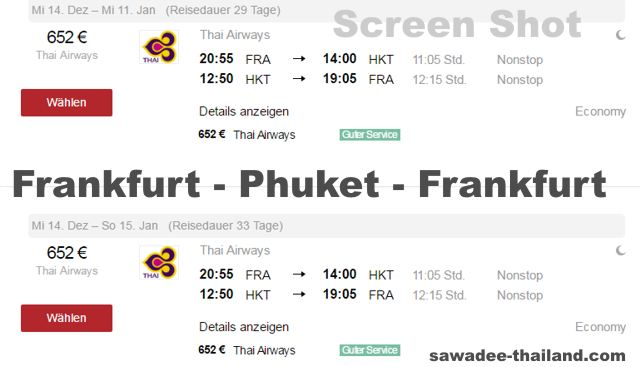 Frankfurt Phuket Non Stop mit Thai Airways