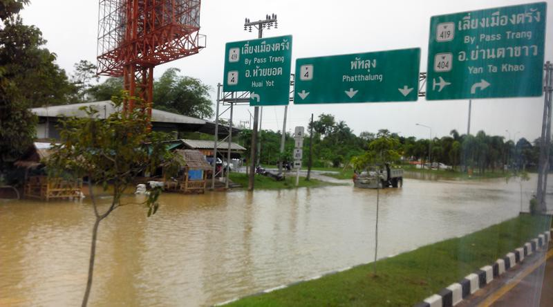 Auf dem Weg nach Hat Yai: Überflutung in Trang, nach schweren Regenfällen in den letzten Tagen